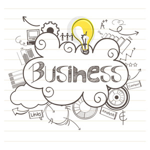 Hand drawn business infographic elements on notebook paper background.