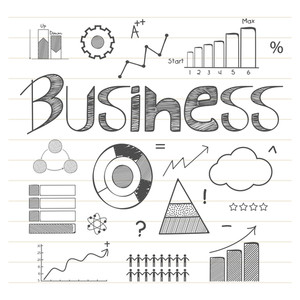 Hand drawn business infographic elements with statistical graphs and charts on notebook paper background.