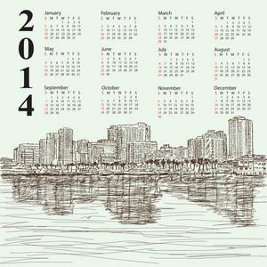 Hand-drawn Cityscape 2014 Calendar