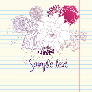 Hand-drawn Flowers. Sketchy Notebook Doodles Design Element On Graph Paper