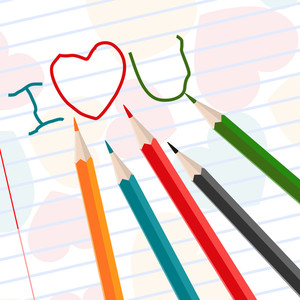 Hand-drawn I Love U Messages On Notebook Paper With Colorful Pencil. Vector.