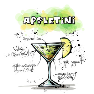 Hand Drawn Illustration Of Cocktail. Appletini. Vector Collection.