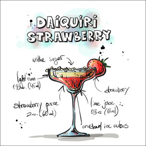 Hand Drawn Illustration Of Cocktail. Daiquiri Strawberry. Vector Collection.