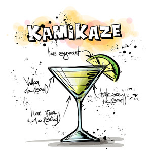 Hand Drawn Illustration Of Cocktail. Kamikaze. Vector Collection.