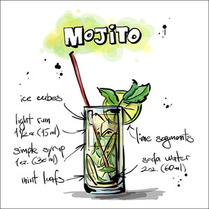 Hand Drawn Illustration Of Cocktail. Mojito. Vector Collection.