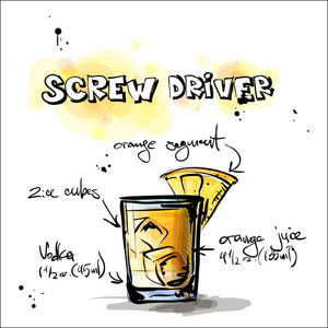 Hand Drawn Illustration Of Cocktail. Screw Driver. Vector Collection.