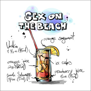 Hand Drawn Illustration Of Cocktail. Sex On The Beach. Vector Collection.