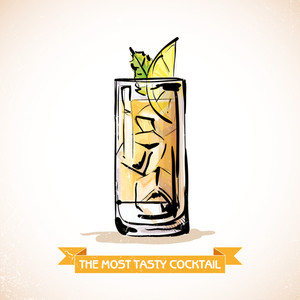 Hand Drawn Illustration Of Cocktail. Vector Collection.