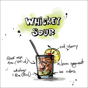 Hand Drawn Illustration Of Cocktail. Whiskey Sour. Vector Collection.