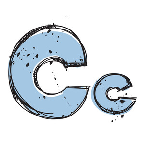 Hand Drawn Letter C. Vector Illustration