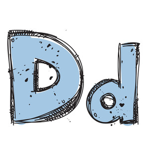 Hand Drawn Letter D. Vector Illustration