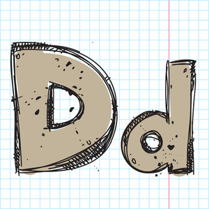 Hand Drawn Letter D. Vector Illustration