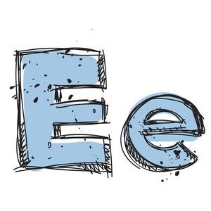 Hand Drawn Letter E. Vector Illustration