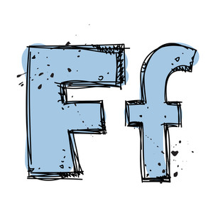 Hand Drawn Letter F. Vector Illustration