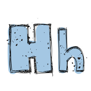Hand Drawn Letter H. Vector Illustration
