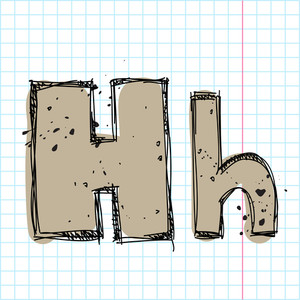 Hand Drawn Letter H. Vector Illustration