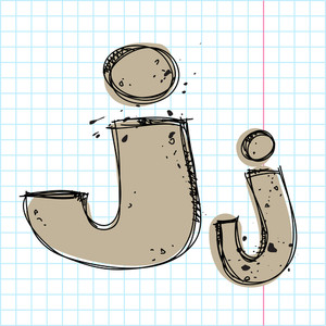 Hand Drawn Letter J. Vector Illustration