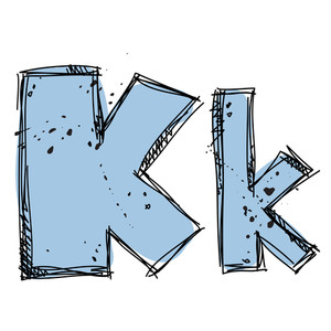 Hand Drawn Letter K. Vector Illustration