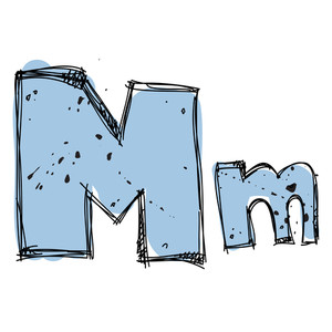 Hand Drawn Letter M. Vector Illustration