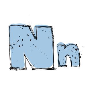 Hand Drawn Letter N. Vector Illustration