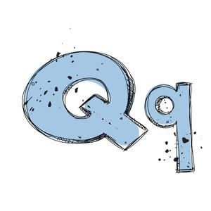 Hand Drawn Letter Q. Vector Illustration