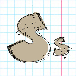 Hand Drawn Letter S. Vector Illustration