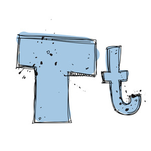 Hand Drawn Letter T. Vector Illustration