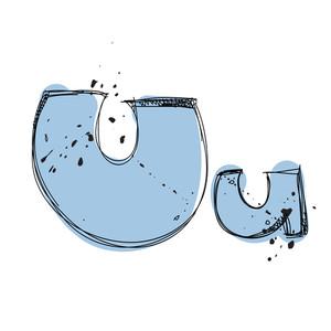 Hand Drawn Letter U. Vector Illustration