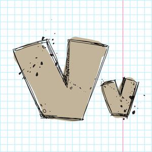Hand Drawn Letter V. Vector Illustration