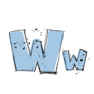 Hand Drawn Letter W. Vector Illustration