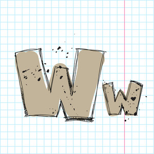 Hand Drawn Letter W. Vector Illustration