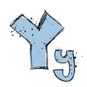 Hand Drawn Letter Y. Vector Illustration