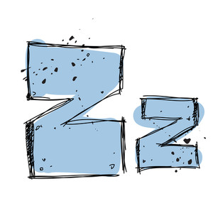 Hand Drawn Letter Z. Vector Illustration