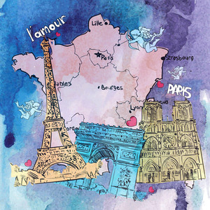 Hand Drawn Watercolor Background With French Motive. Vector Illustration.