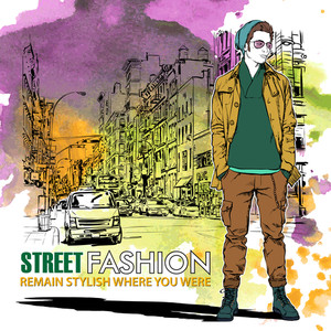 Hand Drawn Watercolor Background With Illustration Of Stylish Guy In Sketch Style. Vector Illustration.