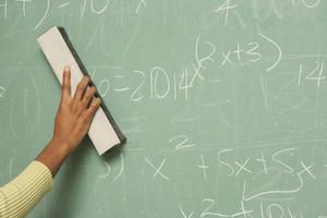 Hand erasing chalkboard