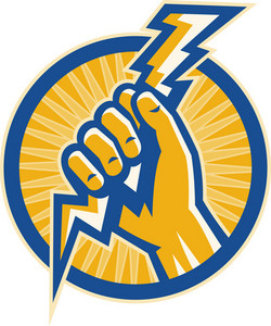 Hand Hold A Lightning Bolt Of Electricity Set Inside A Circle