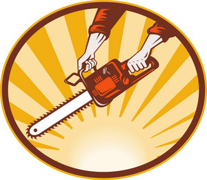 Hand Holding Chainsaw