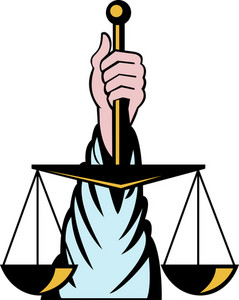 Hand Holding Scales Of Justice