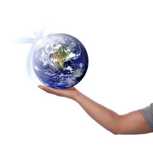 Hand holding up the earth.  Globe image portion courtesy of NASA.