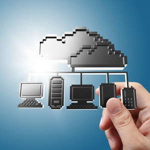 Hand Holds Pixel Cloud Network Icon Sign
