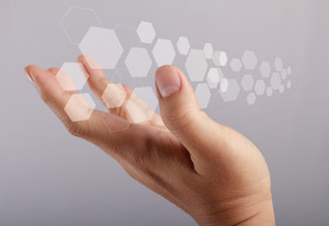 Hand Holds Touch Screen Interface Screen
