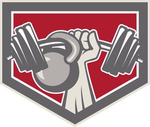 Hand Lifting Barbell And Kettlebell Shield