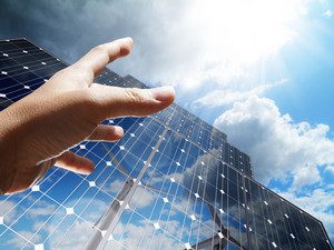 Hand Reach The Sun Concept Renewable, Alternative Solar Energy, Sun-power Plant