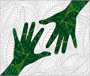 Hand Shape Made With Abstract Plants Pattern. Vector Illustration