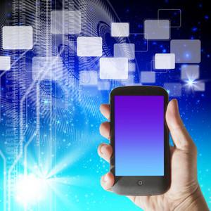 Hand Shows Futuristic Smartphone On Hi-tech Background