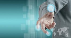 Hand Working On Modern Technology Interface