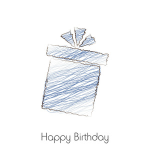 Handdrawn Gift Box On White Background