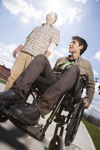 Handicapped boy in wheelchair