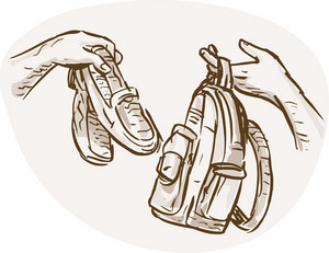 Hands Barter Trading Swapping Shoes And Bag